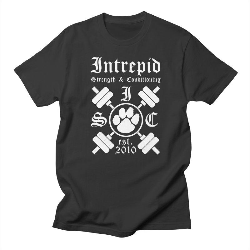 Intrepid with barbells Men's Regular T-Shirt by intrepidcfwarwick's Artist Shop