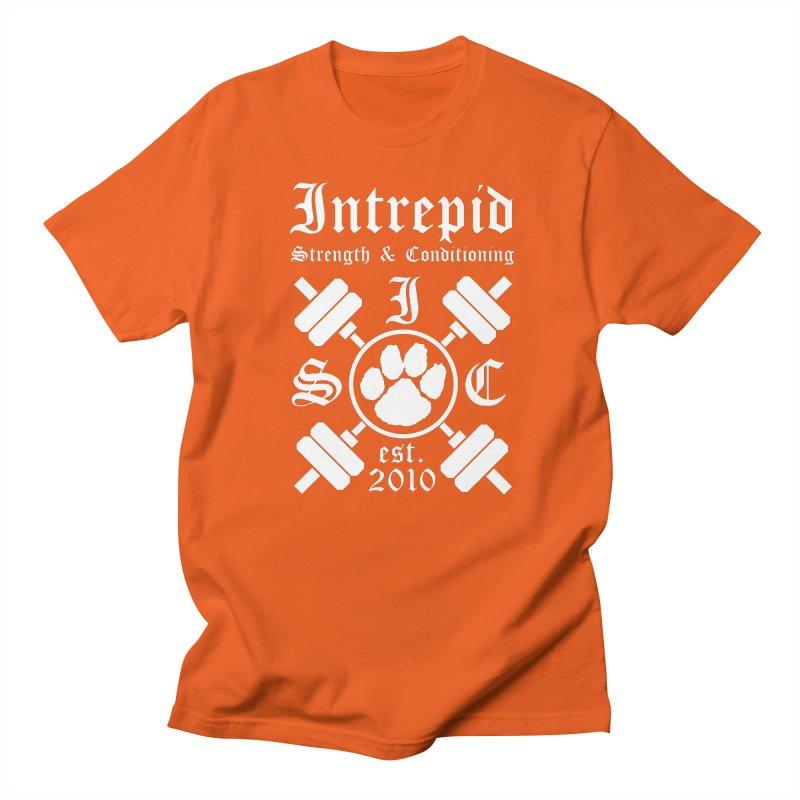 Intrepid with barbells Men's Regular T-Shirt by Intrepid CF Warwick's Artist Shop