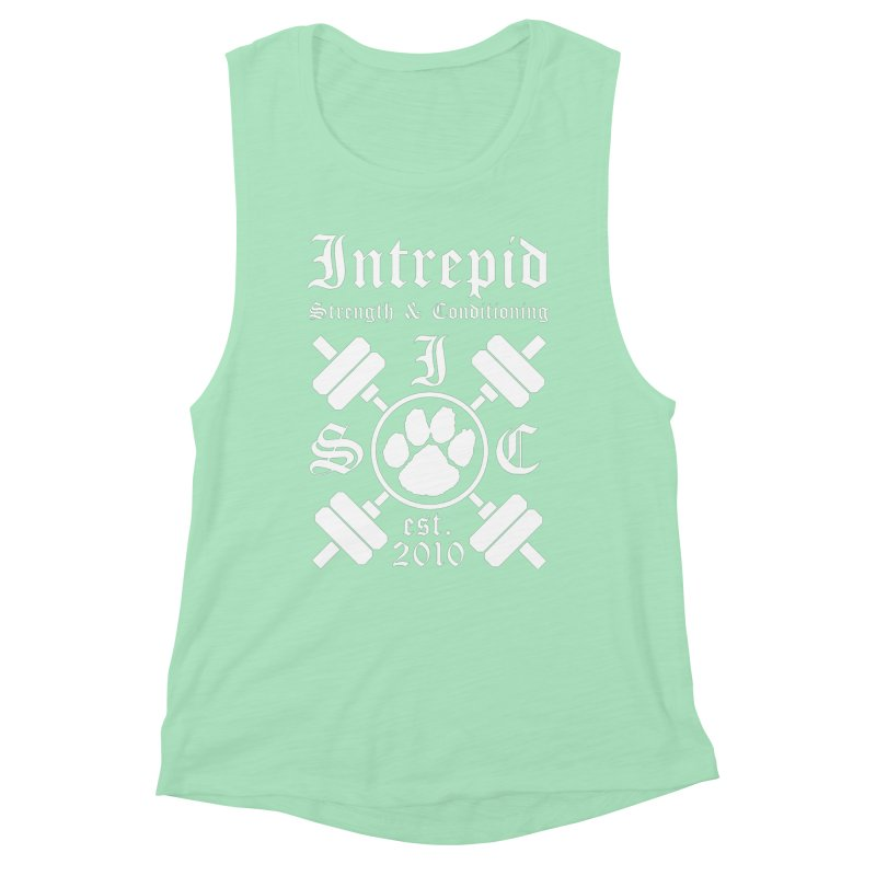 Intrepid with barbells Women's Muscle Tank by Intrepid CF Warwick's Artist Shop