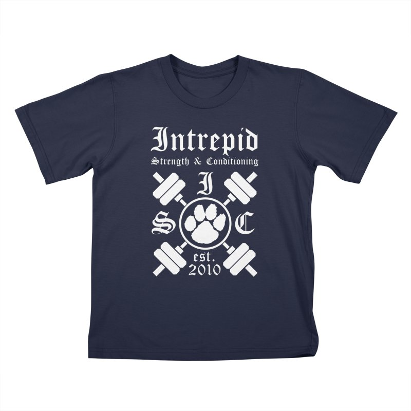 Intrepid with barbells Kids T-Shirt by Intrepid CF Warwick's Artist Shop
