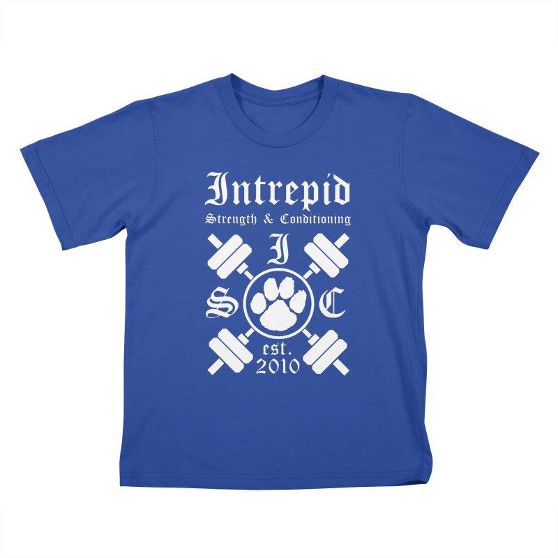 Intrepid with barbells Kids T-Shirt by Intrepid CF Warwick's Artist Shop