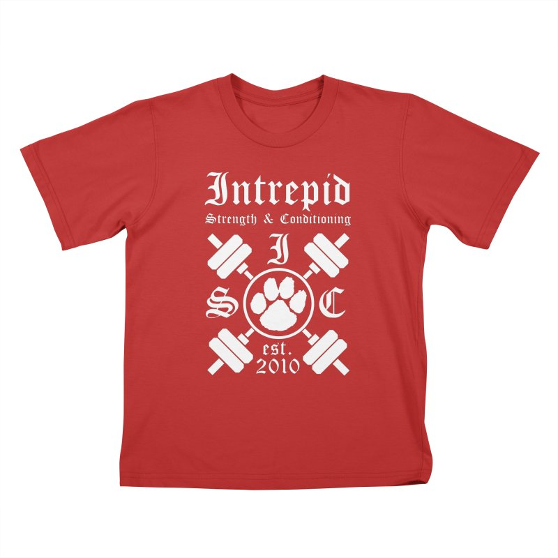 Intrepid with barbells Kids T-Shirt by intrepidcfwarwick's Artist Shop