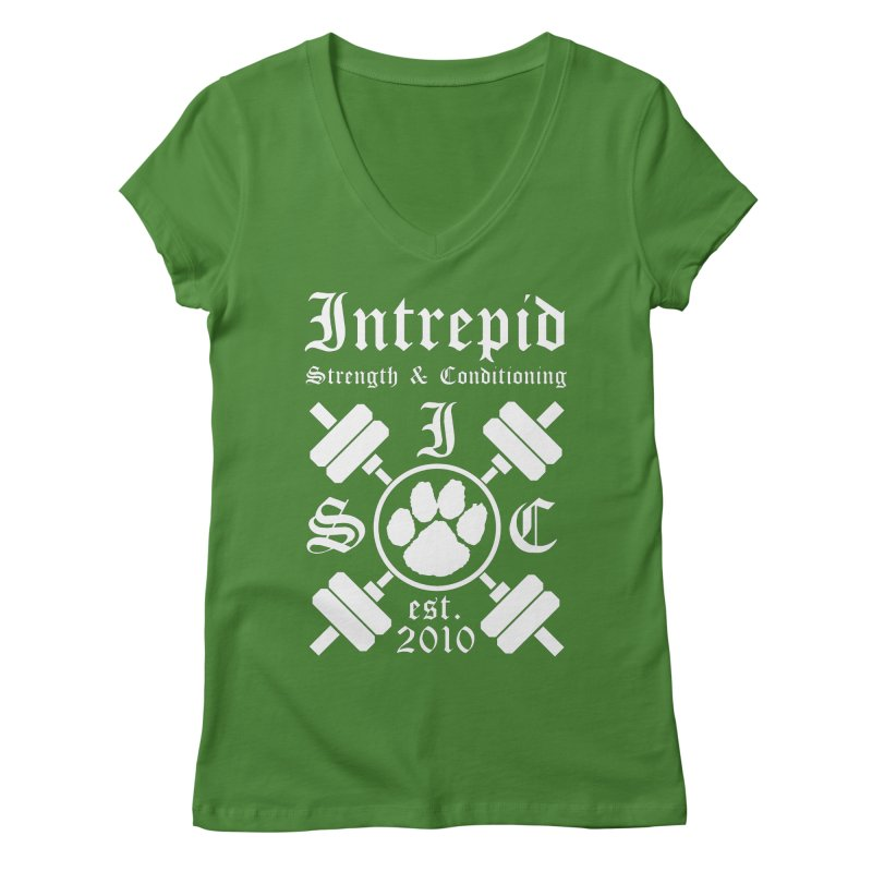 Intrepid with barbells Women's Regular V-Neck by Intrepid CF Warwick's Artist Shop