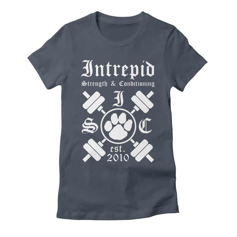 Intrepid with barbells Women's Fitted T-Shirt by Intrepid CF Warwick's Artist Shop