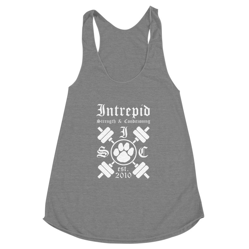 Intrepid with barbells Women's Racerback Triblend Tank by Intrepid CF Warwick's Artist Shop