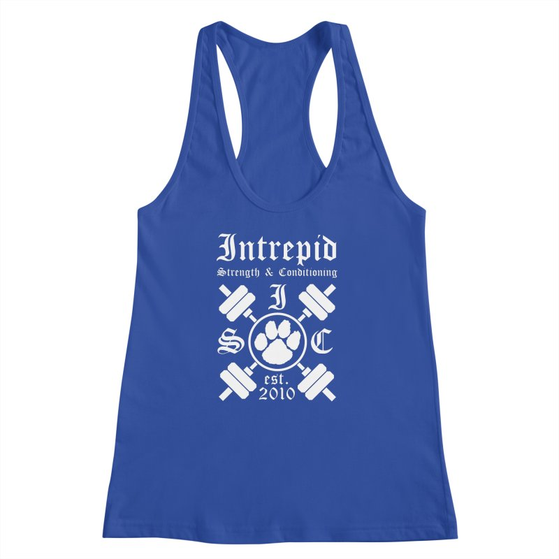 Intrepid with barbells Women's Racerback Tank by intrepidcfwarwick's Artist Shop