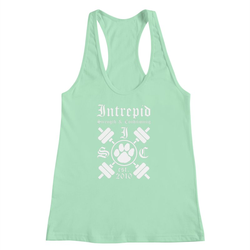 Intrepid with barbells Women's Racerback Tank by Intrepid CF Warwick's Artist Shop