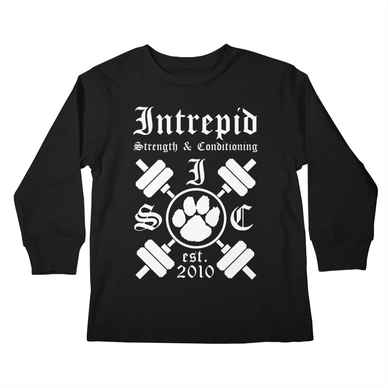 Intrepid with barbells Kids Longsleeve T-Shirt by Intrepid CF Warwick's Artist Shop