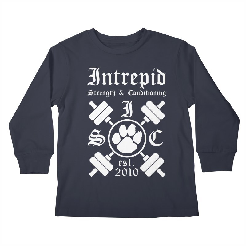 Intrepid with barbells Kids Longsleeve T-Shirt by Intrepid CF Warwick's Artist Shop