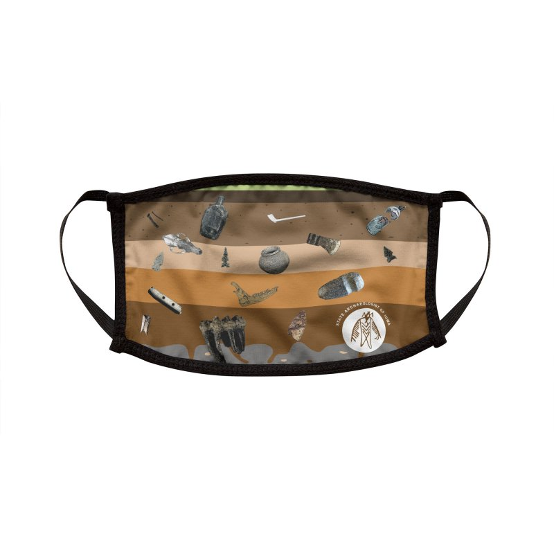 Iowa Archaeology Stratigraphy Accessories Face Mask by Iowa Archaeology Gifts, Prints, & Apparel
