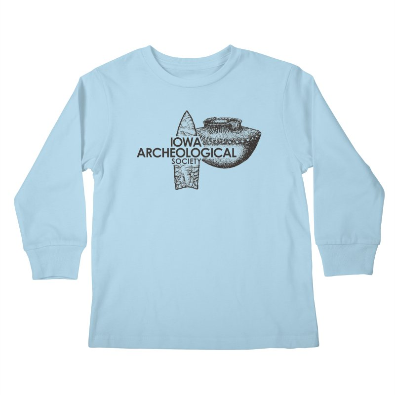IAS Classic Logo (Black) Kids Longsleeve T-Shirt by Iowa Archaeology Gifts, Prints, & Apparel