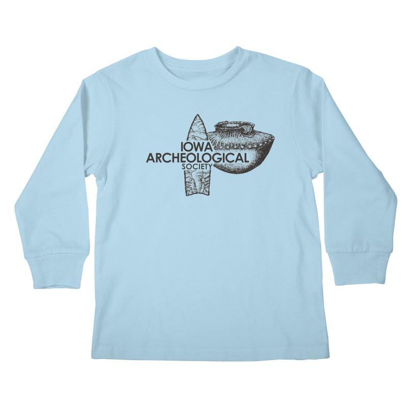 IAS Classic Logo (Black) Kids Longsleeve T-Shirt by Iowa Archaeology Gifts, Prints, & Apparel