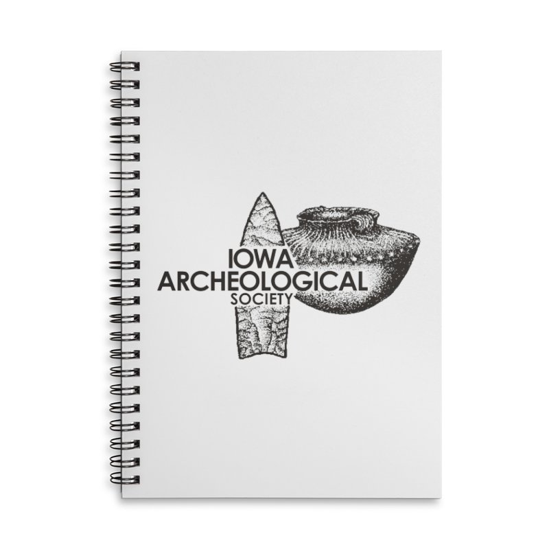 IAS Classic Logo (Black) Accessories Lined Spiral Notebook by Iowa Archaeology Gifts, Prints, & Apparel