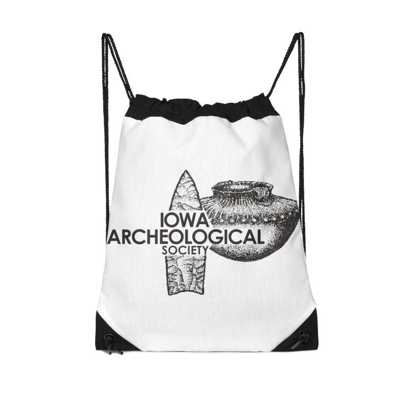 IAS Classic Logo (Black) Accessories Drawstring Bag Bag by Iowa Archaeology Gifts, Prints, & Apparel