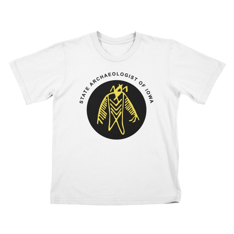 Office of the State Archaeologist Logo (Black & Gold) Kids T-Shirt by Iowa Archaeology Gifts, Prints, & Apparel