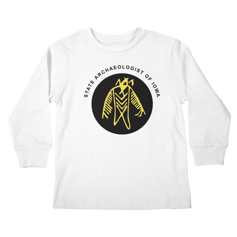 Office of the State Archaeologist Logo (Black & Gold) Kids Longsleeve T-Shirt by Iowa Archaeology Gifts, Prints, & Apparel