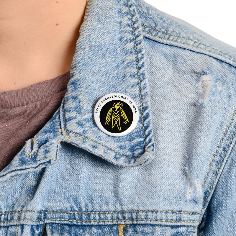 Office of the State Archaeologist Logo (Black & Gold) Accessories Button by Iowa Archaeology Gifts, Prints, & Apparel