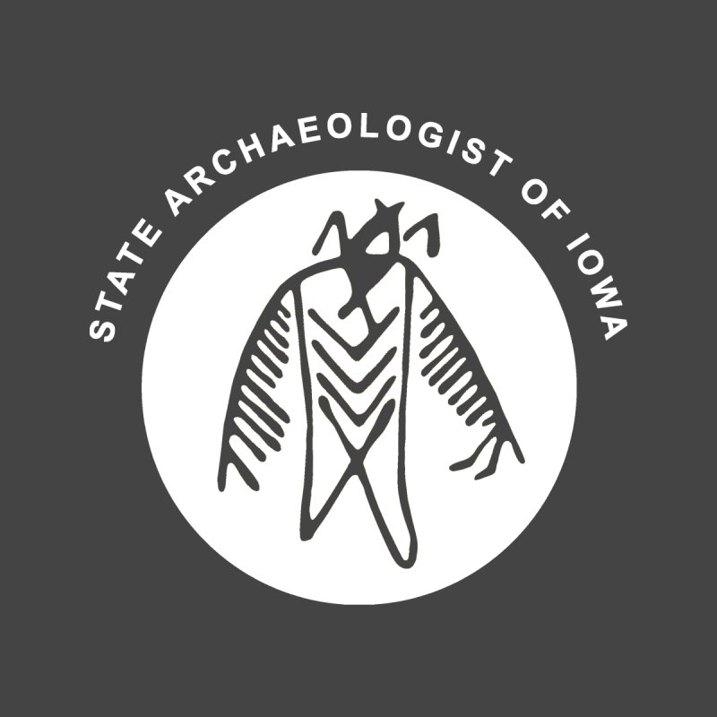 Office of the State Archaeologist Logo in (White) by Iowa Archaeology Gifts, Prints, & Apparel