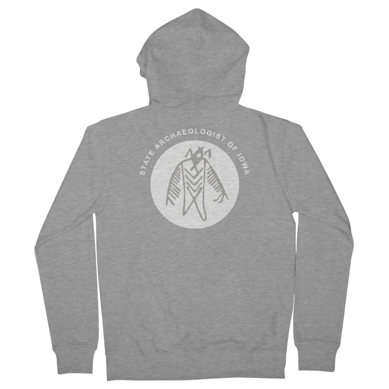 Office of the State Archaeologist Logo in (White) Men's French Terry Zip-Up Hoody by Iowa Archaeology Gifts, Prints, & Apparel