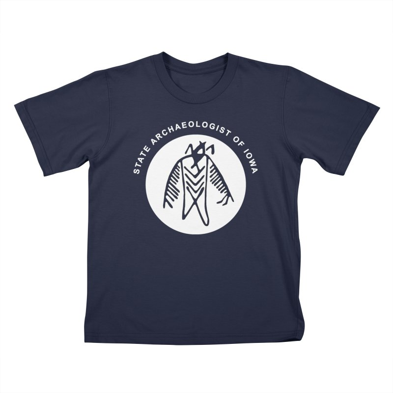 Office of the State Archaeologist Logo in (White) Kids T-Shirt by Iowa Archaeology Gifts, Prints, & Apparel