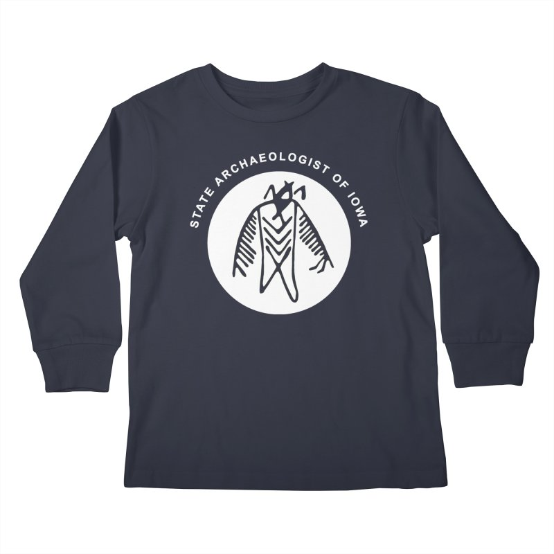 Office of the State Archaeologist Logo in (White) Kids Longsleeve T-Shirt by Iowa Archaeology Gifts, Prints, & Apparel