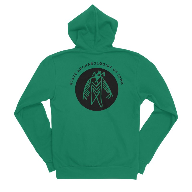 Office of the State Archaeologist Logo (Black) Men's Sponge Fleece Zip-Up Hoody by Iowa Archaeology Gifts, Prints, & Apparel