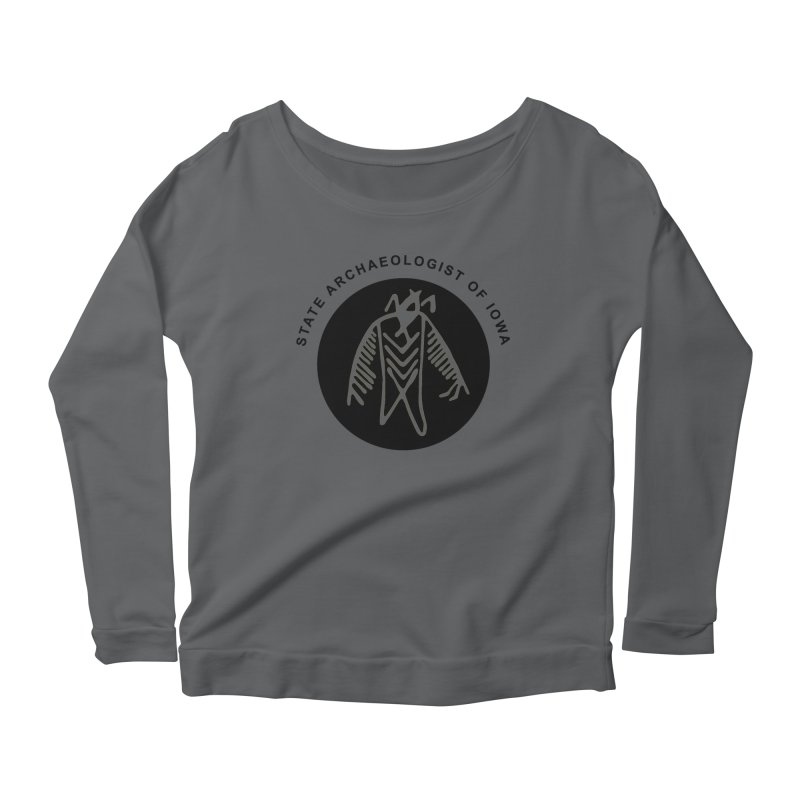 Office of the State Archaeologist Logo (Black) Women's Scoop Neck Longsleeve T-Shirt by Iowa Archaeology Gifts, Prints, & Apparel