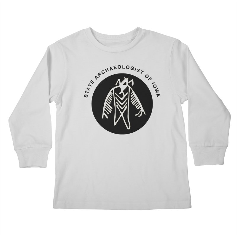 Office of the State Archaeologist Logo (Black) Kids Longsleeve T-Shirt by Iowa Archaeology Gifts, Prints, & Apparel
