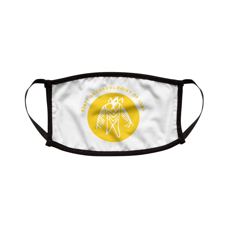 Office of the State Archaeologist Logo (Gold) Accessories Face Mask by Iowa Archaeology Gifts, Prints, & Apparel