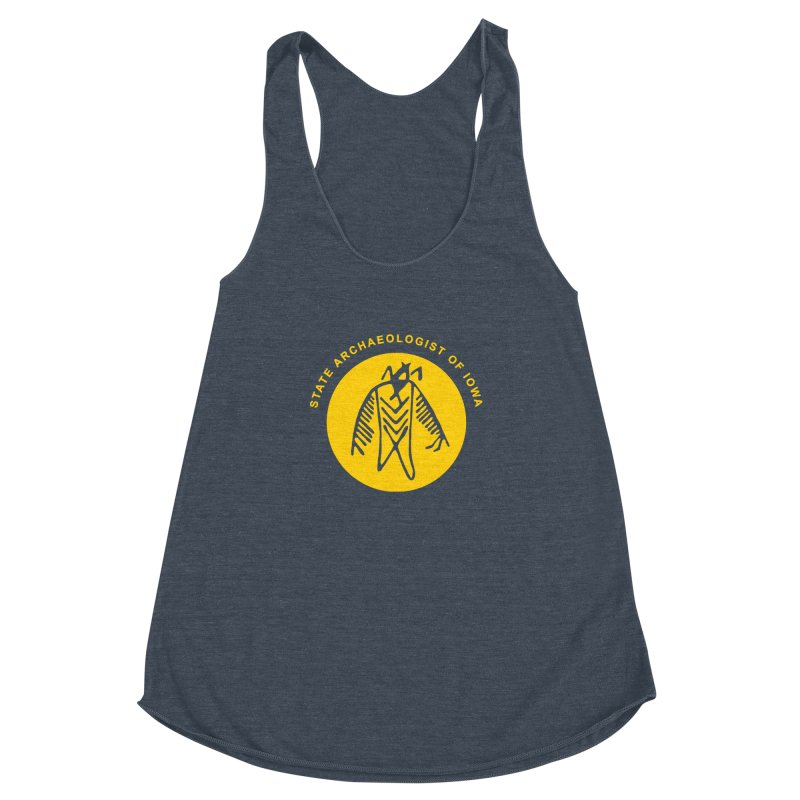 Office of the State Archaeologist Logo (Gold) Women's Racerback Triblend Tank by Iowa Archaeology Gifts, Prints, & Apparel