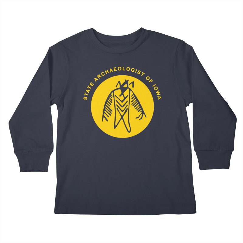 Office of the State Archaeologist Logo (Gold) Kids Longsleeve T-Shirt by Iowa Archaeology Gifts, Prints, & Apparel