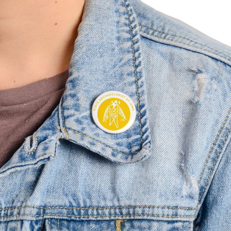 Office of the State Archaeologist Logo (Gold) Accessories Button by Iowa Archaeology Gifts, Prints, & Apparel