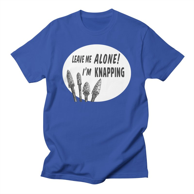 Leave Me Alone, I'm Knapping (white) Men's T-Shirt by Iowa Archaeology Gifts, Prints, & Apparel