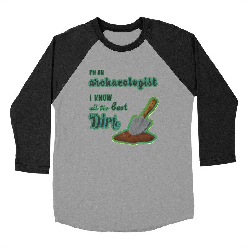 All the Best Dirt (Green) Men's Baseball Triblend Longsleeve T-Shirt by Iowa Archaeology Gifts, Prints, & Apparel
