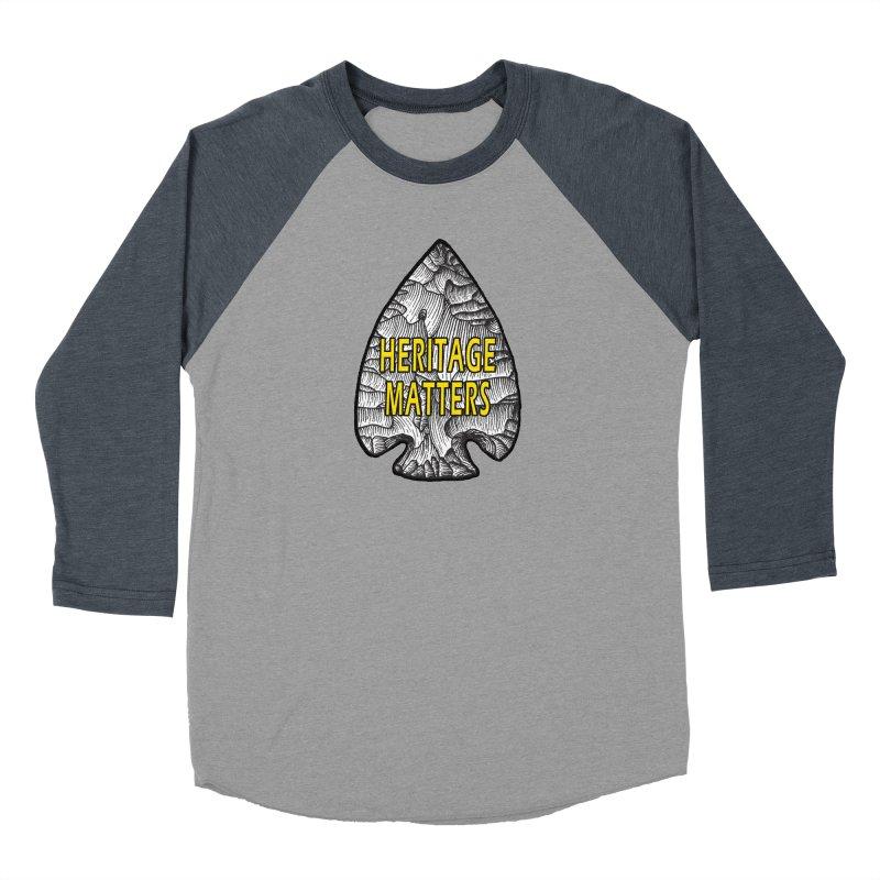Heritage Matters Women's Baseball Triblend Longsleeve T-Shirt by Iowa Archaeology Gifts, Prints, & Apparel