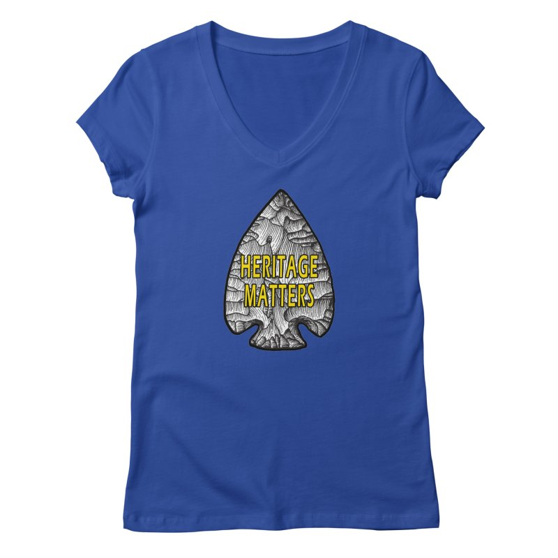 Heritage Matters Women's Regular V-Neck by Iowa Archaeology Gifts, Prints, & Apparel