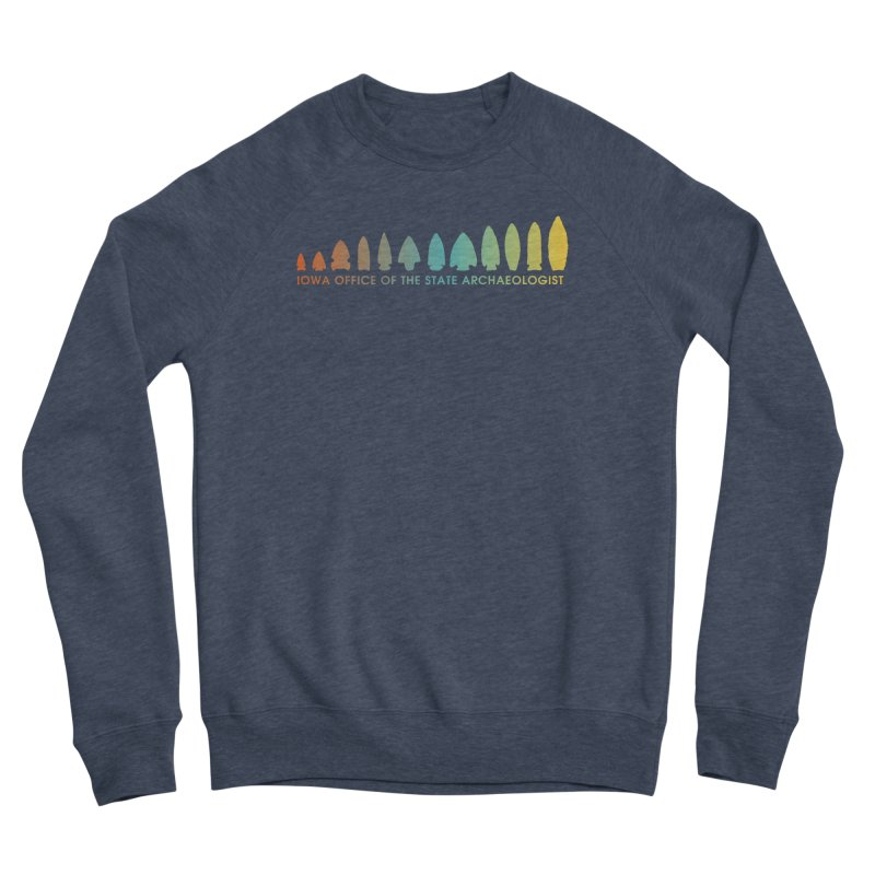 Iowa Projectile Points (Banner, Rainbow) Men's Sponge Fleece Sweatshirt by Iowa Archaeology Gifts, Prints, & Apparel
