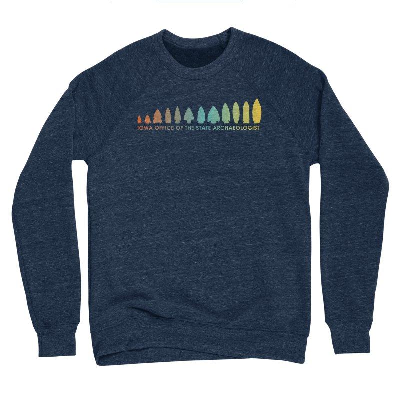 Iowa Projectile Points (Banner, Rainbow) Men's Sponge Fleece Sweatshirt by Iowa Archaeology Gifts, Prints, & Apparel