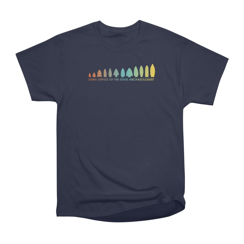 Iowa Projectile Points (Banner, Rainbow) Men's Heavyweight T-Shirt by Iowa Archaeology Gifts, Prints, & Apparel
