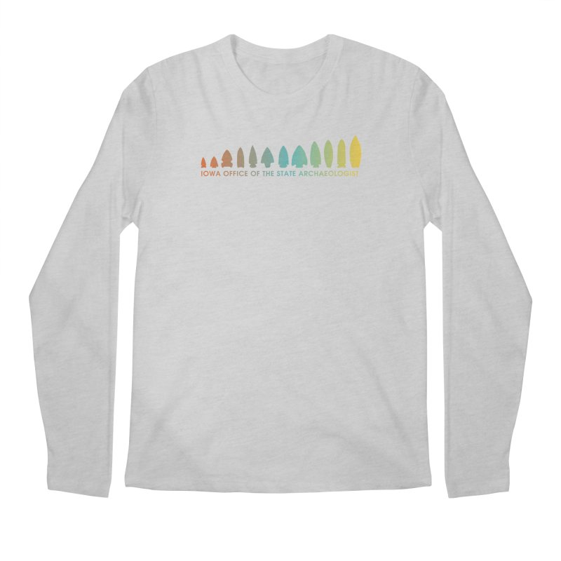 Iowa Projectile Points (Banner, Rainbow) Men's Regular Longsleeve T-Shirt by Iowa Archaeology Gifts, Prints, & Apparel