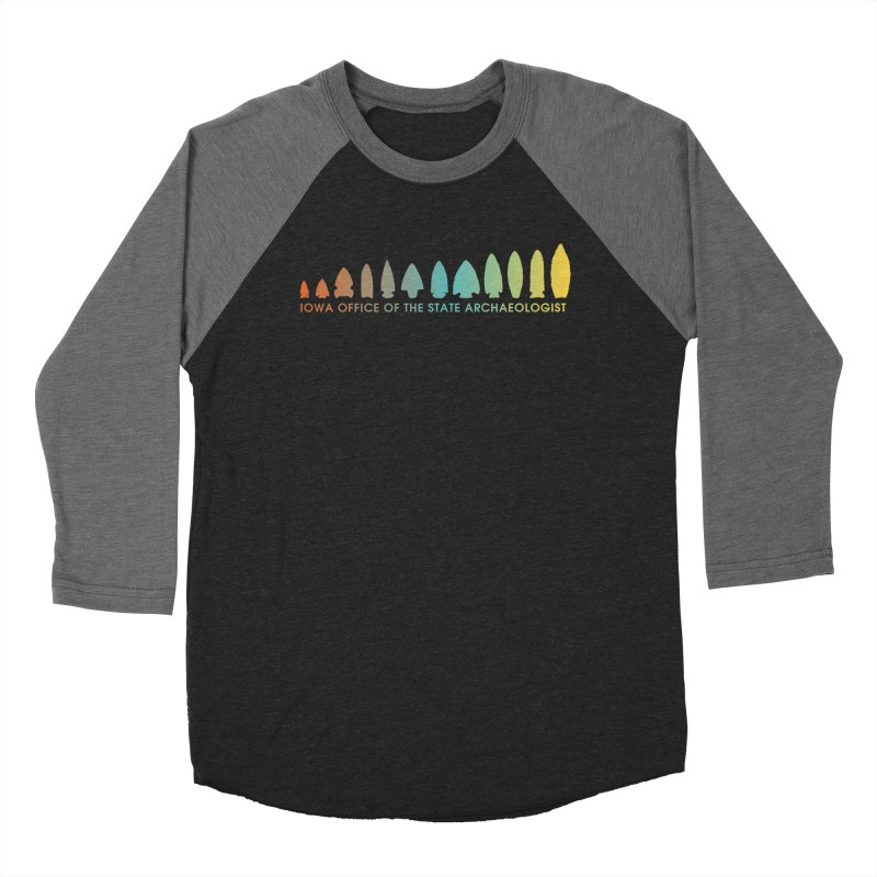 Iowa Projectile Points (Banner, Rainbow) Women's Baseball Triblend Longsleeve T-Shirt by Iowa Archaeology Gifts, Prints, & Apparel