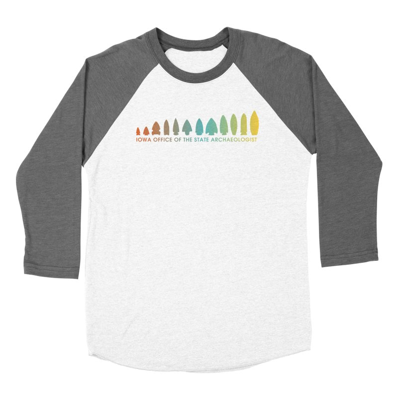 Iowa Projectile Points (Banner, Rainbow) Men's Baseball Triblend Longsleeve T-Shirt by Iowa Archaeology Gifts, Prints, & Apparel