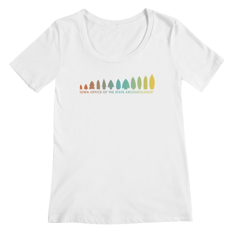 Iowa Projectile Points (Banner, Rainbow) Women's Regular Scoop Neck by Iowa Archaeology Gifts, Prints, & Apparel