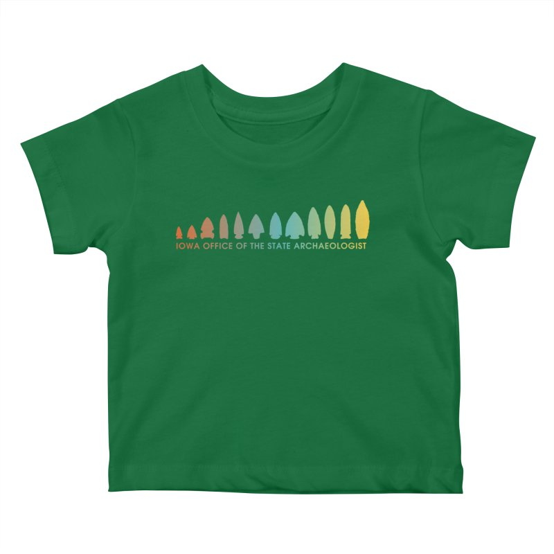 Iowa Projectile Points (Banner, Rainbow) Kids Baby T-Shirt by Iowa Archaeology Gifts, Prints, & Apparel