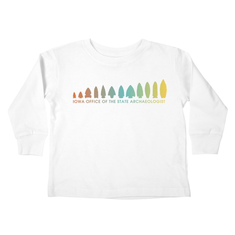 Iowa Projectile Points (Banner, Rainbow) Kids Toddler Longsleeve T-Shirt by Iowa Archaeology Gifts, Prints, & Apparel