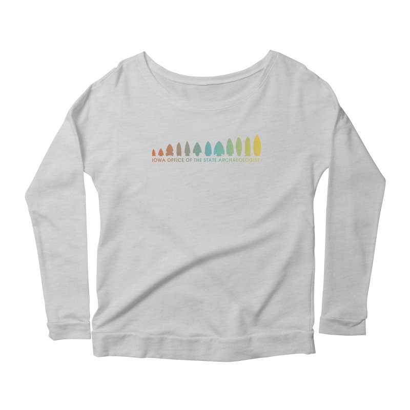 Iowa Projectile Points (Banner, Rainbow) Women's Scoop Neck Longsleeve T-Shirt by Iowa Archaeology Gifts, Prints, & Apparel