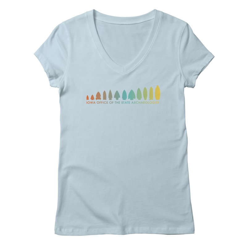 Iowa Projectile Points (Banner, Rainbow) Women's Regular V-Neck by Iowa Archaeology Gifts, Prints, & Apparel
