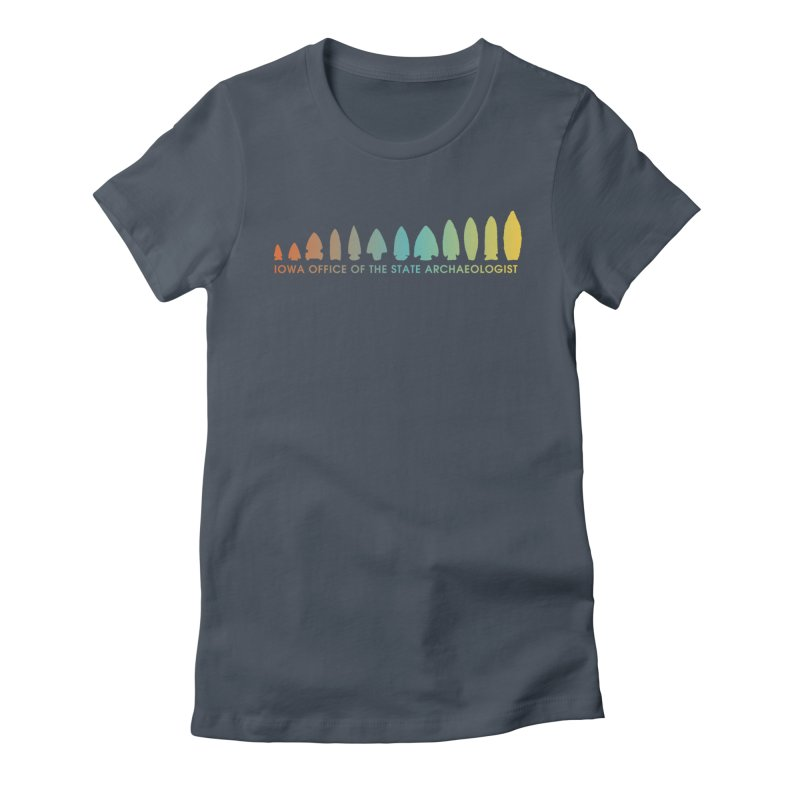 Iowa Projectile Points (Banner, Rainbow) Women's Fitted T-Shirt by Iowa Archaeology Gifts, Prints, & Apparel