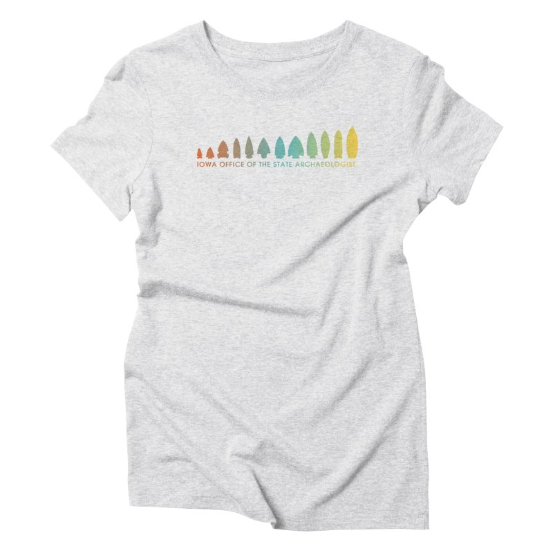 Iowa Projectile Points (Banner, Rainbow) Women's Triblend T-Shirt by Iowa Archaeology Gifts, Prints, & Apparel