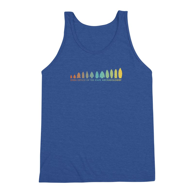 Iowa Projectile Points (Banner, Rainbow) Men's Triblend Tank by Iowa Archaeology Gifts, Prints, & Apparel